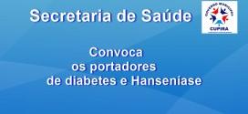os portadores de Diabetes e hanseníase participarão de palestras e exercícios nesta sexta, 27