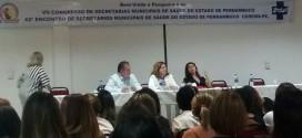 A secretária de saúde, Maria Iolanda, Está participando do VII congresso estadual de saúde, em Pesqueira-PE