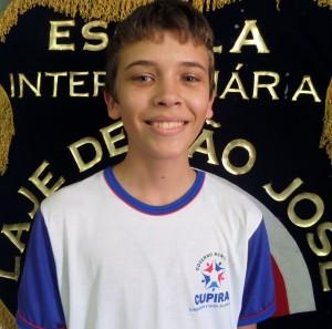 José Fernando, aluno do 7º ano da Escola Intermediária Laje de São José