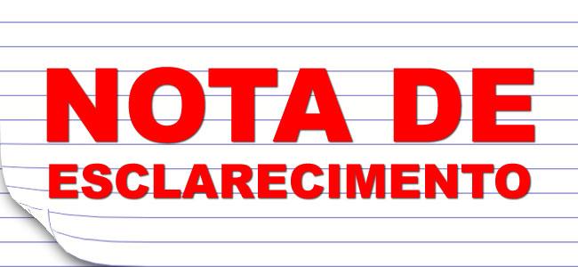 NOTA DE ESCLARECIMENTO!