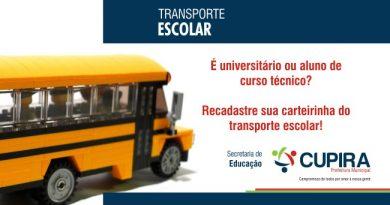 Estão abertas as inscrições para o recadastramento das carteiras do transporte escolar