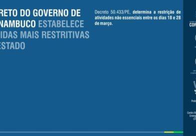 Governo de PE emite decreto Nº50.433 e estabelece novas medidas para conter casos de COVID-19