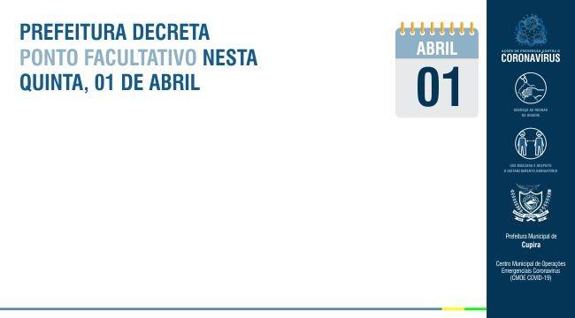 Prefeitura decreta ponto facultativo nessa quinta-feira 01 de abril